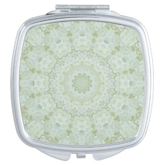 Ivory and Light Green Rose Mandala Floral Travel Mirror