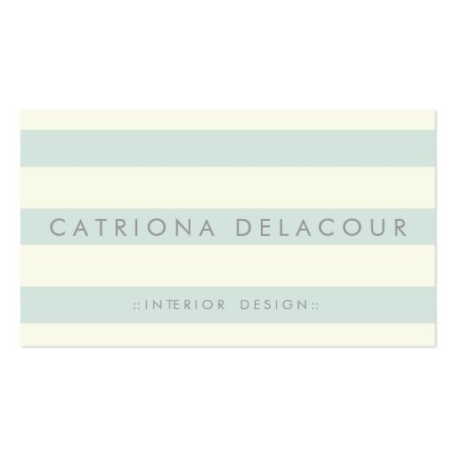 Ivory and Mint Green Stripes Pattern Business Card