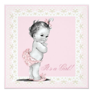 """Ivory and Pink Baby Girl Shower 5.25"""" Square Invitation Card"""
