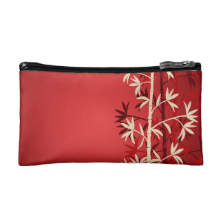 Ivory and red bamboo travel accessories bag