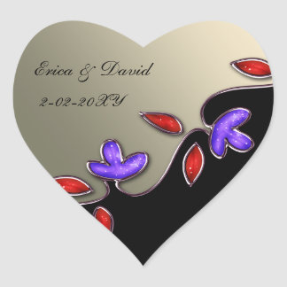 ivory and red floral envelopes seals heart sticker