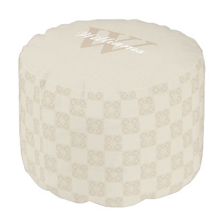 Ivory and Tan Monogram Pouf Seat