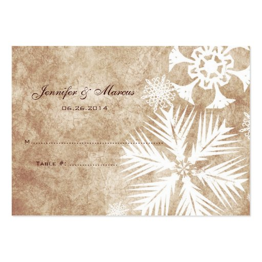 ivory and white christmas snowflakes seating card large. Black Bedroom Furniture Sets. Home Design Ideas