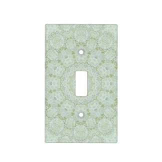 Ivory and White Rose Floral Mandala Kaleidoscope Light Switch Cover