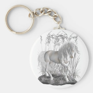 Ivory Basic Round Button Keychain