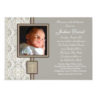 Ivory Beige Boy Photo Christening Card
