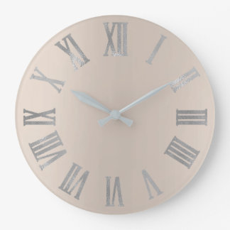 Ivory Beige Gray Minimal Metallic Roman Numers Large Clock
