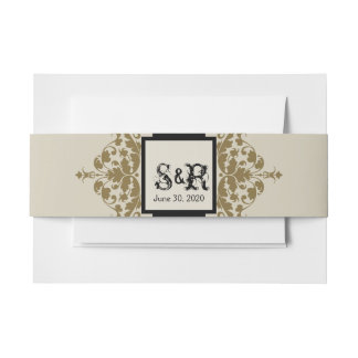 Ivory Black and Gold Damask Wedding Belly Band Invitation Belly Band