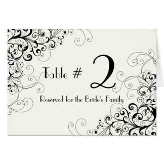 Ivory & Black Custom Wedding Table Number