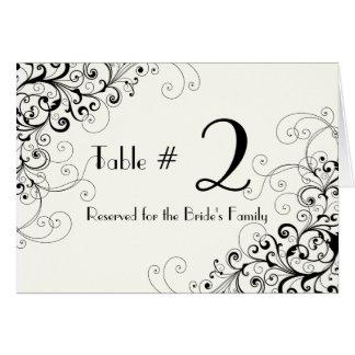 Ivory & Black Custom Wedding Table Number Card