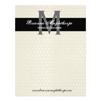 Ivory & Black Damask Monogram Letterhead
