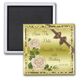 Ivory Blossom, Bows & Diamonds 40th Save The Date Square Magnet