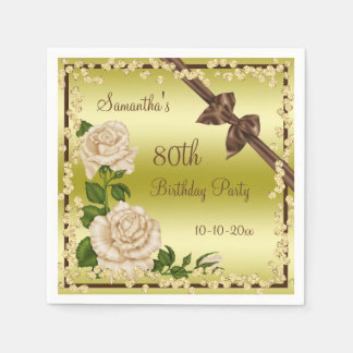 Ivory Blossom, Bows & Diamonds 80th Napkin