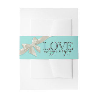 Ivory Bow and Robin's Egg Love Invitation Wrap Invitation Belly Band