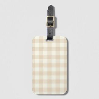 Ivory Brown Gingham Baggage Labels Bag Tag