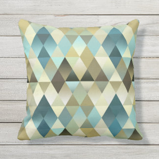 Ivory Brown Teal Blue Diamond Squares Pattern Throw Pillow