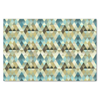 Ivory Brown Teal Blue Diamond Squares Pattern Tissue Paper