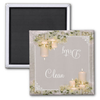 Ivory Candles Clean & Dirty Dishwasher Magnet D2