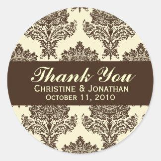 Ivory & Chocolate Damask Round Wedding Labels Round Sticker