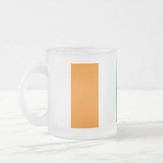 Ivory Coast Flag Frosted Glass Coffee Mug