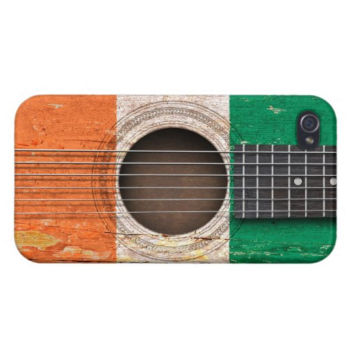 Ivory Coast Flag on Old Acoustic Guitar Cover For iPhone 4