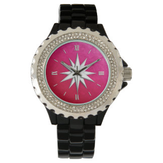Ivory compass rose - ruby glass background watch