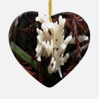 Ivory Coral Fungus Ceramic Heart Ornament