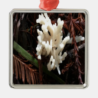 Ivory Coral Fungus Metal Ornament