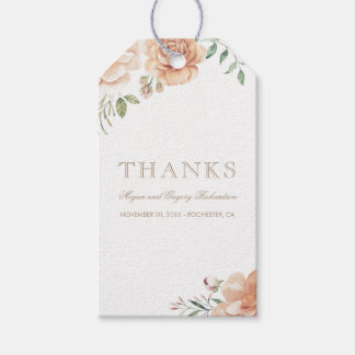 Ivory Cream Watercolor Flowers Elegant Boho Pack Of Gift Tags