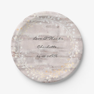 Ivory Creamy Rustic Cottage Birch Wreath Garland Paper Plate