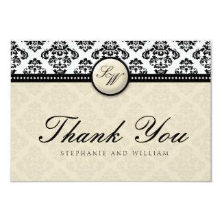 "Ivory Damask Monogram Wedding Thank You Card 3.5"" X 5"" Invitation Card"