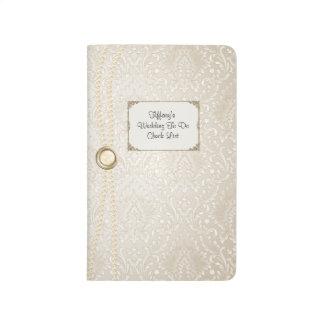 Ivory Damask Wedding Check List Pocket Journal