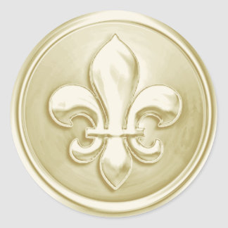 Ivory Fleur de Lis Envelope Seal Embossed Look Round Sticker