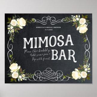 ivory floral Mimosa Bar Sign bbq wedding etc