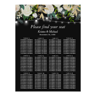 Ivory Floral String Lights Wedding Seating Chart