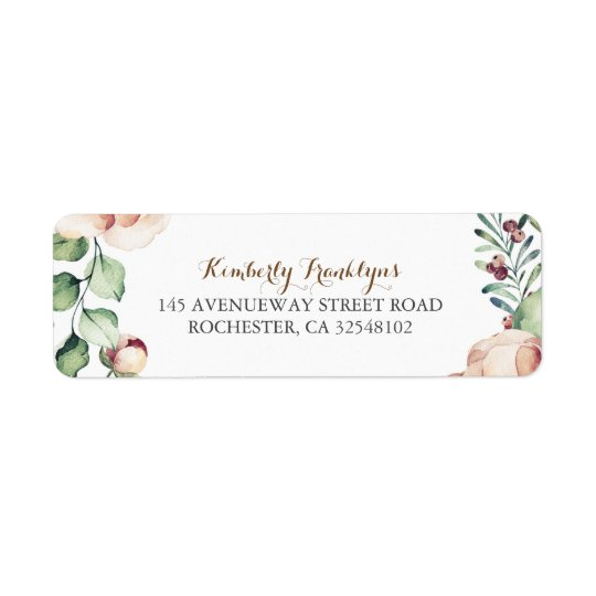Ivory Floral Watercolor Bouquet Fall Vintage Return Address Label