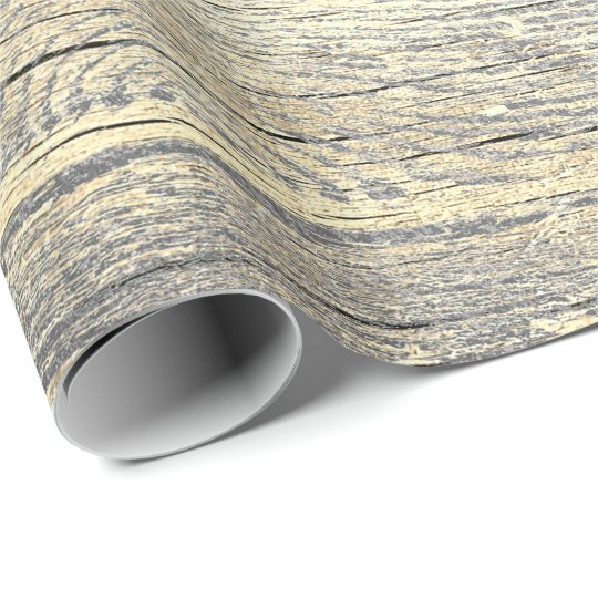 Ivory Foxier Metallic Shabby Grey Gold Wood Rustic Wrapping Paper