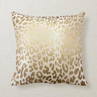 Ivory Glam Gold Metallic Steel Leopard Animal Skin Throw Pillow