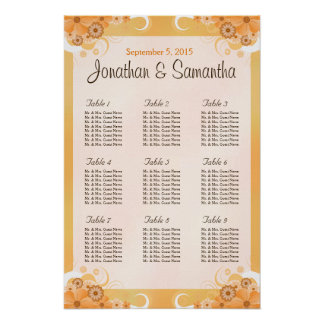 Ivory Gold and Peach Floral Table Seating Charts Poster
