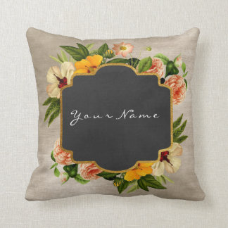 Ivory Gold Black Chalkboard Peony Baroque Floral Throw Pillow