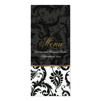 Ivory, Gold, Black Damask Wedding Menu Card