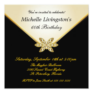 Ivory Gold Black Elegant Womens Party Invitations