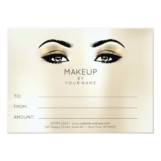 Ivory Gold Blush Makeup Beauty Certificate Gift Card