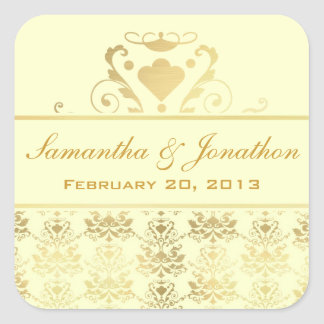 Ivory & Gold Damask Wedding Labels