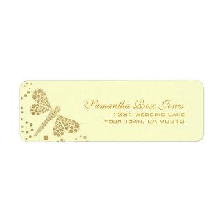 Ivory & Gold Dragonfly Pointillism Custom Address Return Address Label