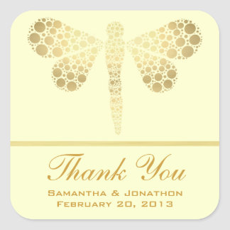 Ivory & Gold Dragonfly Wedding Thank You Square Sticker