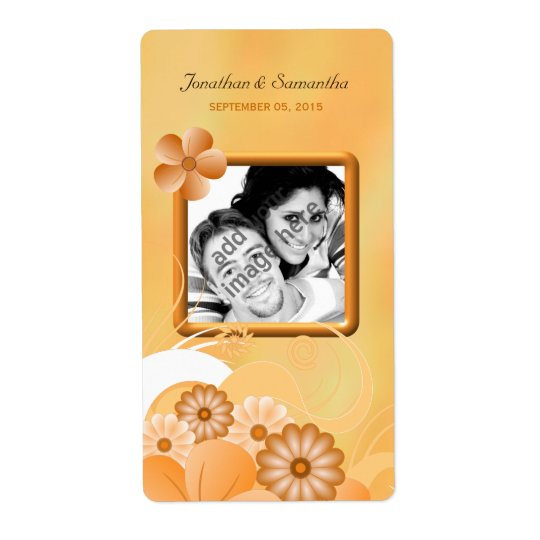 Ivory Gold Floral Wedding Photo Favour Wine Labels