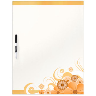 Ivory Gold Hibiscus Floral Dry-Erase Board 22x16