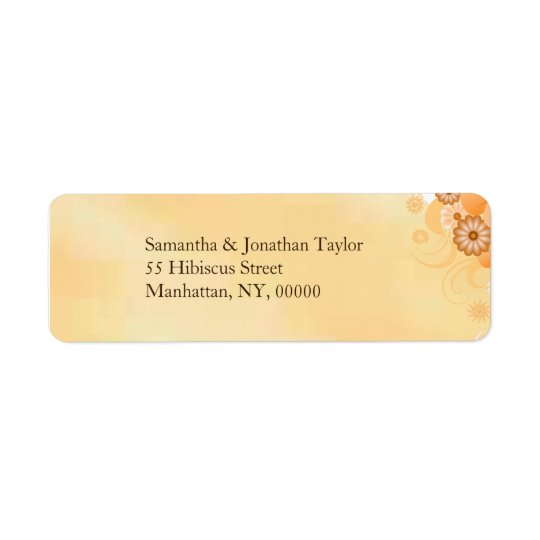 Ivory Gold Hibiscus Floral Small Wedding Labels