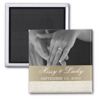 Ivory & Gold Save the Date Magnet